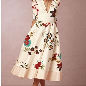 NWT Satin Floral Asian Look Fit & Flare Dress